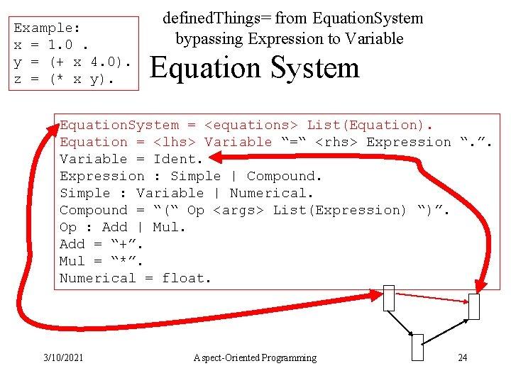 Example: x = 1. 0. y = (+ x 4. 0). z = (*