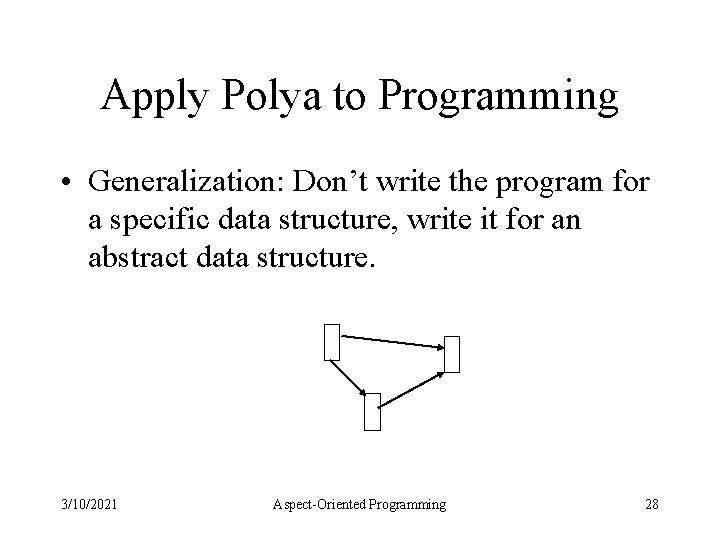 Apply Polya to Programming • Generalization: Don't write the program for a specific data