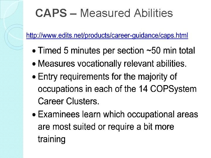CAPS – Measured Abilities