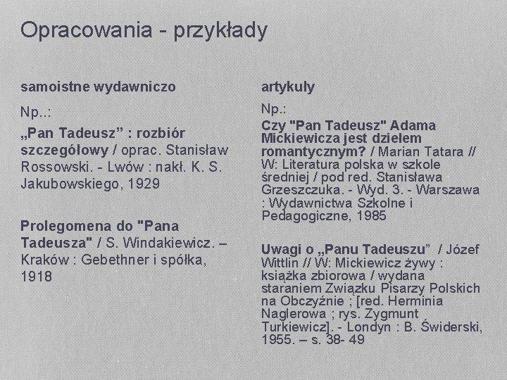 """Opracowania - przykłady samoistne wydawniczo artykuły Np. . : """"Pan Tadeusz"""" : rozbiór szczegółowy"""