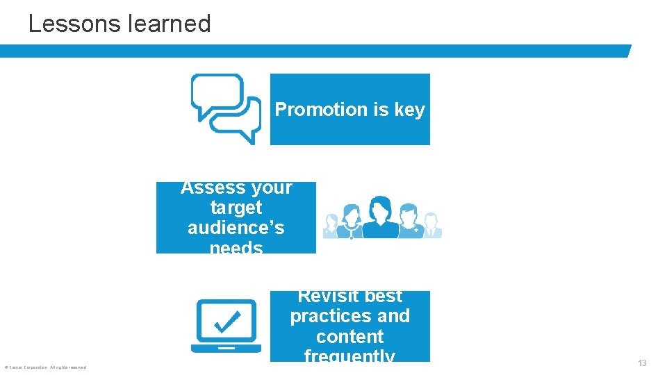 Lessons learned Promotion is key Assess your target audience's needs © Cerner Corporation. All