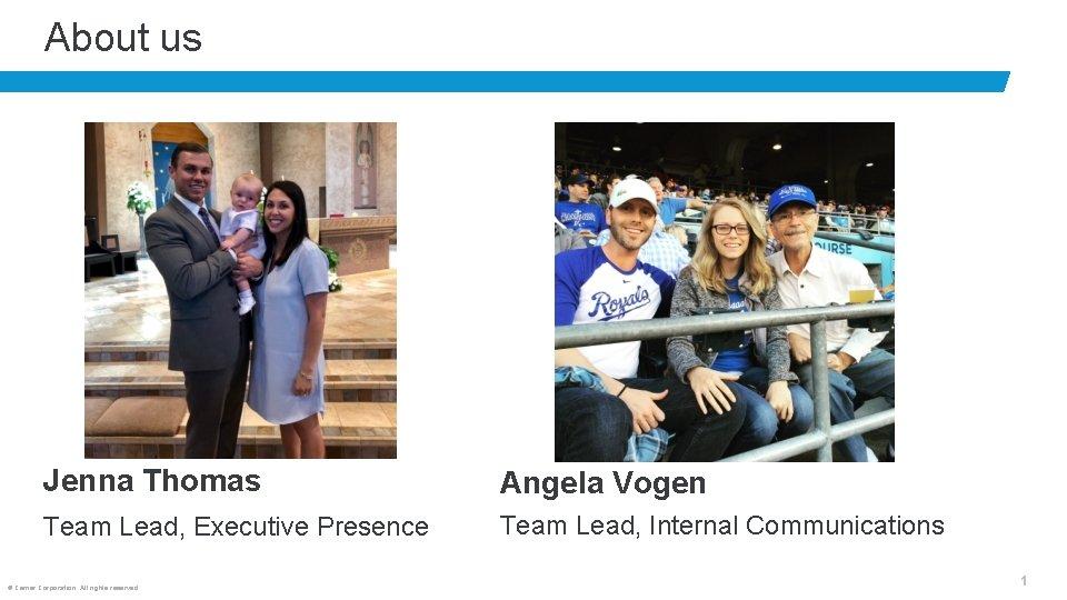 About us Jenna Thomas Angela Vogen Team Lead, Executive Presence Team Lead, Internal Communications