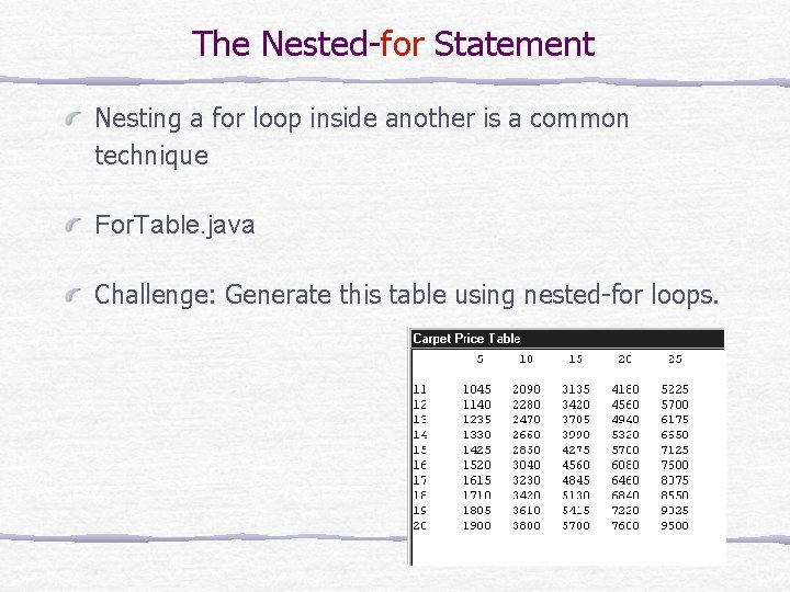 The Nested-for Statement Nesting a for loop inside another is a common technique For.