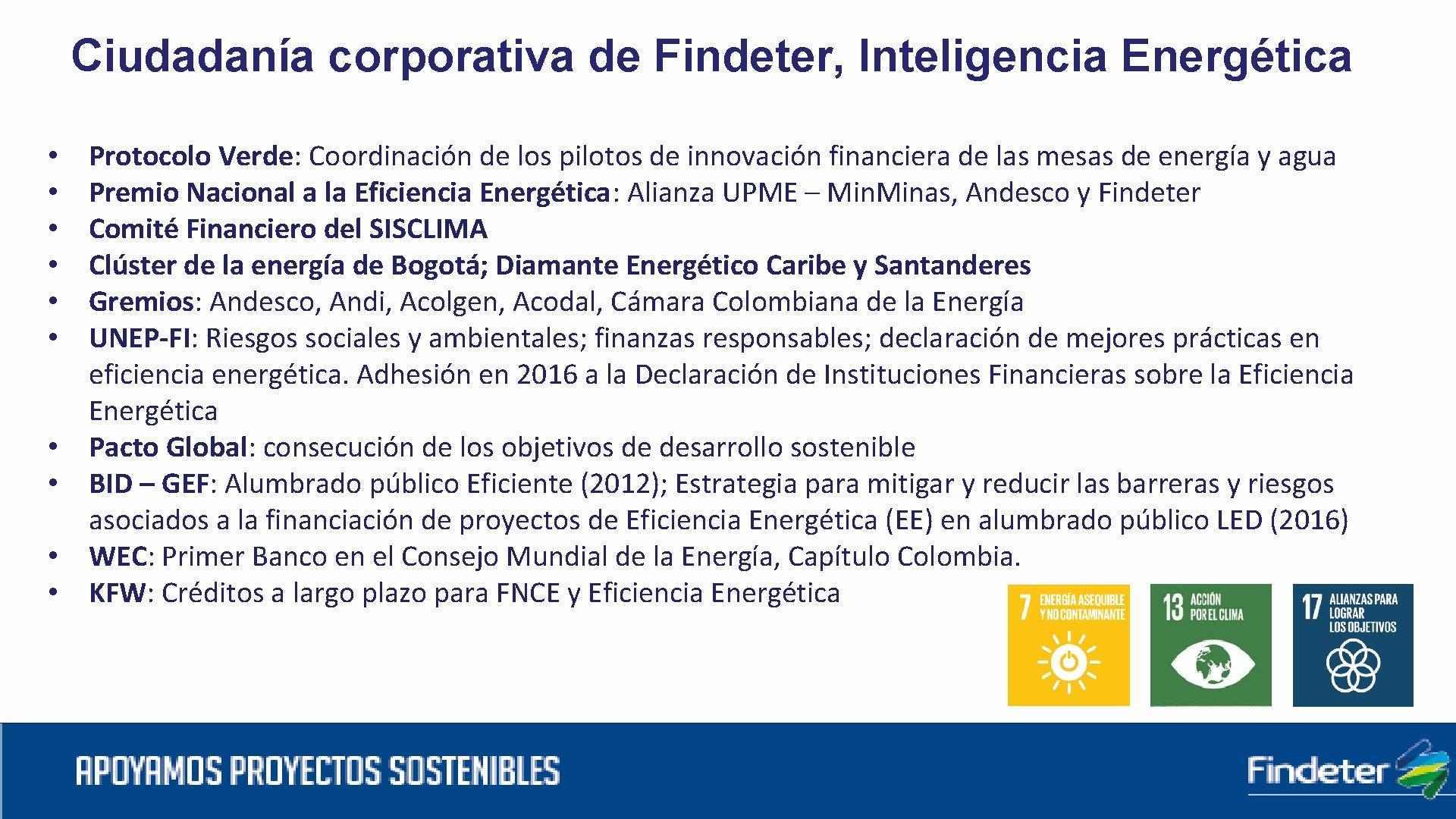Ciudadanía corporativa de Findeter, Inteligencia Energética • • • Protocolo Verde: Coordinación de los