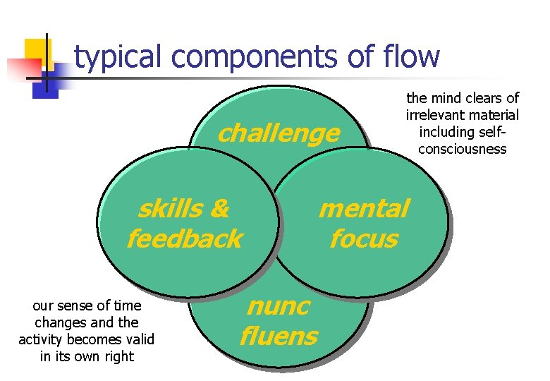 typical components of flow challenge skills & feedback our sense of time changes and