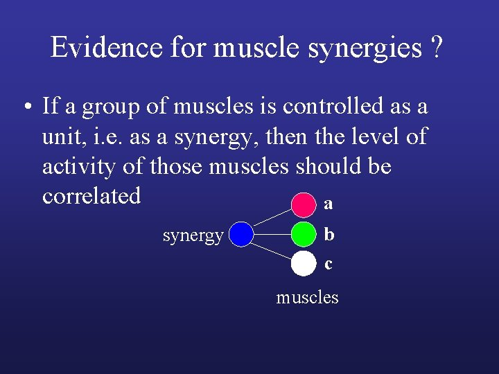 Evidence for muscle synergies ? • If a group of muscles is controlled as