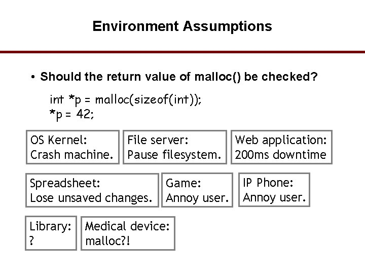 Environment Assumptions • Should the return value of malloc() be checked? int *p =
