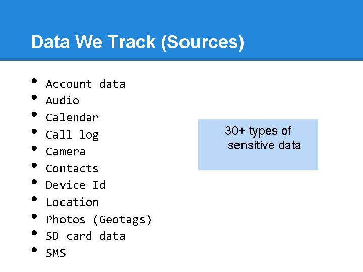 Data We Track (Sources) • • • Account data Audio Calendar Call log Camera