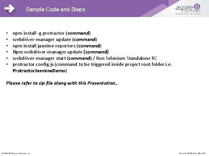 Sample Code and Steps • • • npm install -g protractor (command) webdriver-manager update