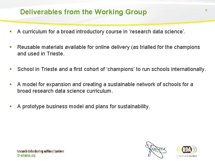 Deliverables from the Working Group 5 § A curriculum for a broad introductory course
