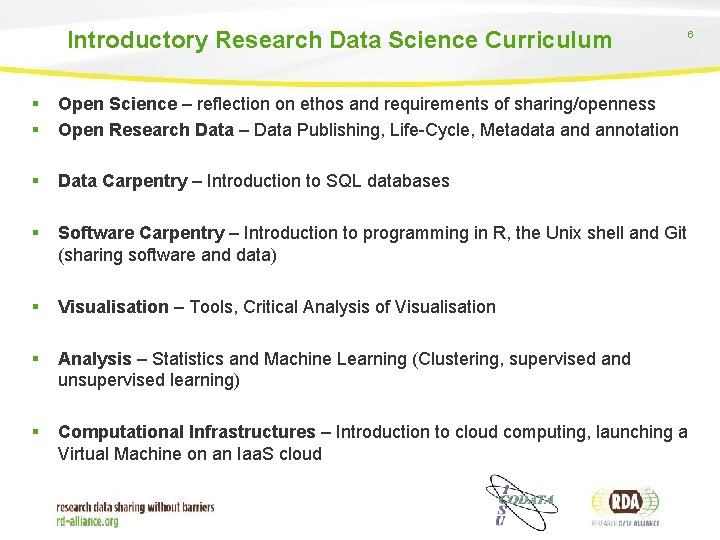Introductory Research Data Science Curriculum 6 § § Open Science – reflection on ethos