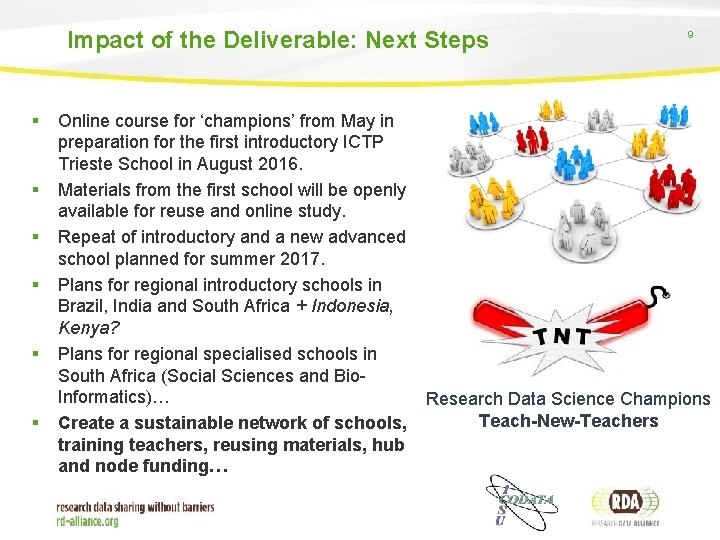 Impact of the Deliverable: Next Steps § § § Online course for 'champions' from
