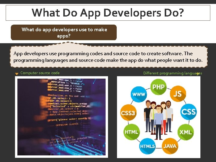 What Do App Developers Do? What do app developers use to make apps? App