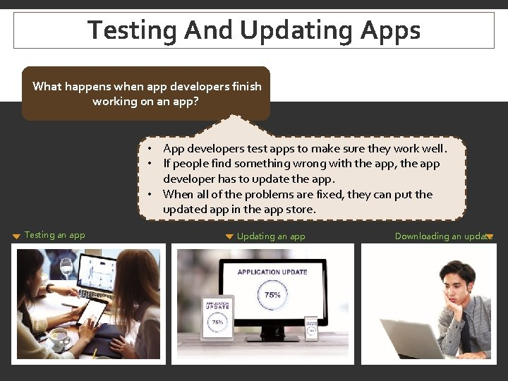 Testing And Updating Apps What happens when app developers finish working on an app?