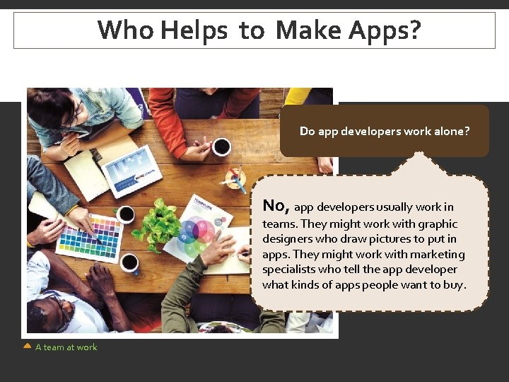 Who Helps to Make Apps? Do app developers work alone? No, app developers usually
