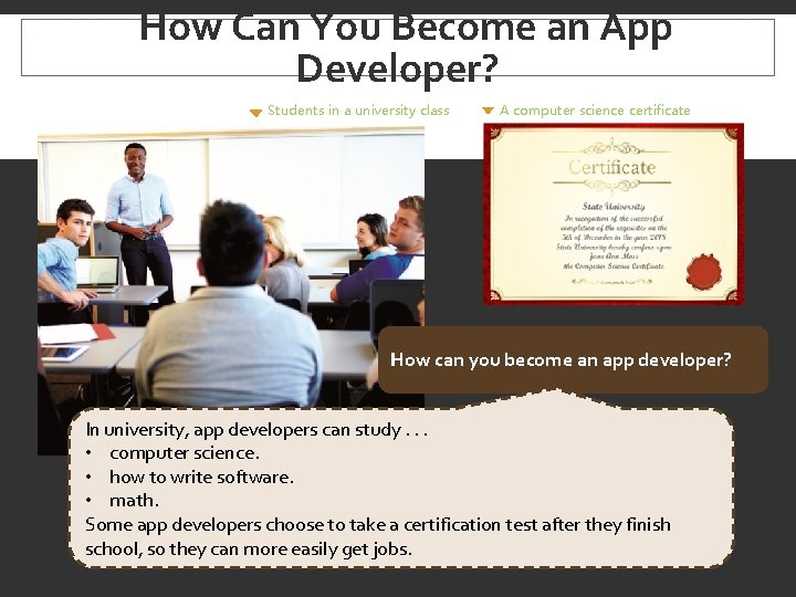 How Can You Become an App Developer? Students in a university class A computer