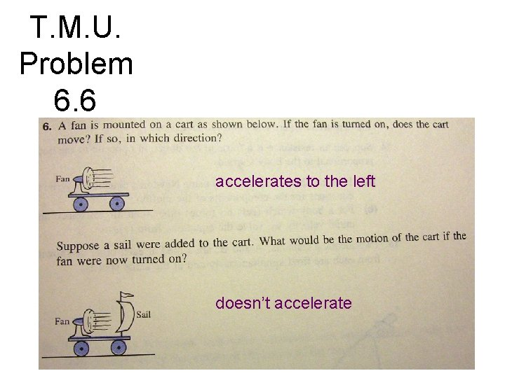T. M. U. Problem 6. 6 accelerates to the left doesn't accelerate