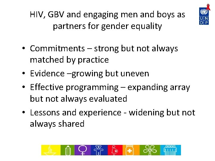HIV, GBV and engaging men and boys as partners for gender equality • Commitments