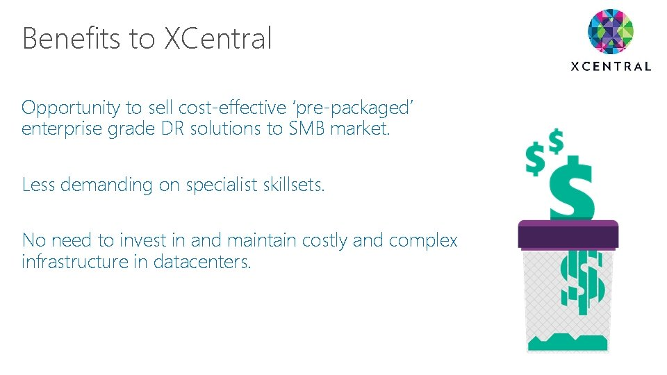 Benefits to XCentral Opportunity to sell cost-effective 'pre-packaged' enterprise grade DR solutions to SMB