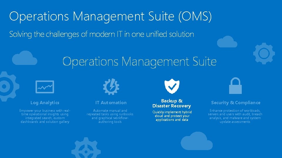 Operations Management Suite (OMS) Solving the challenges of modern IT in one unified solution