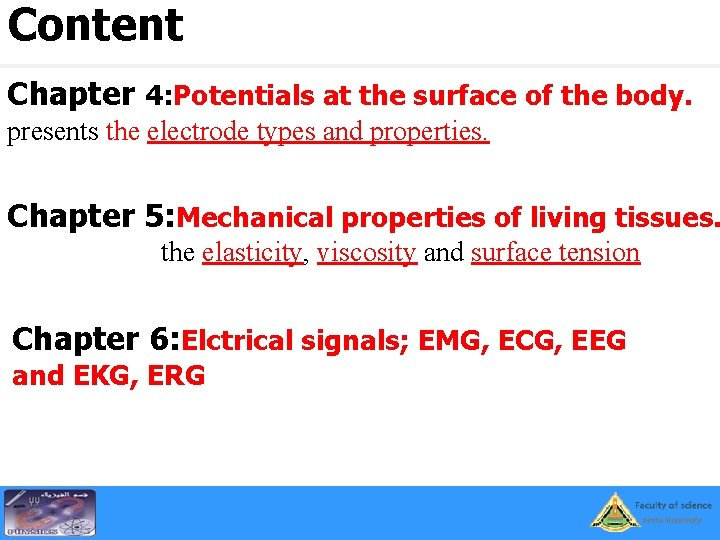 Content Chapter 4: Potentials at the surface of the body. presents the electrode types