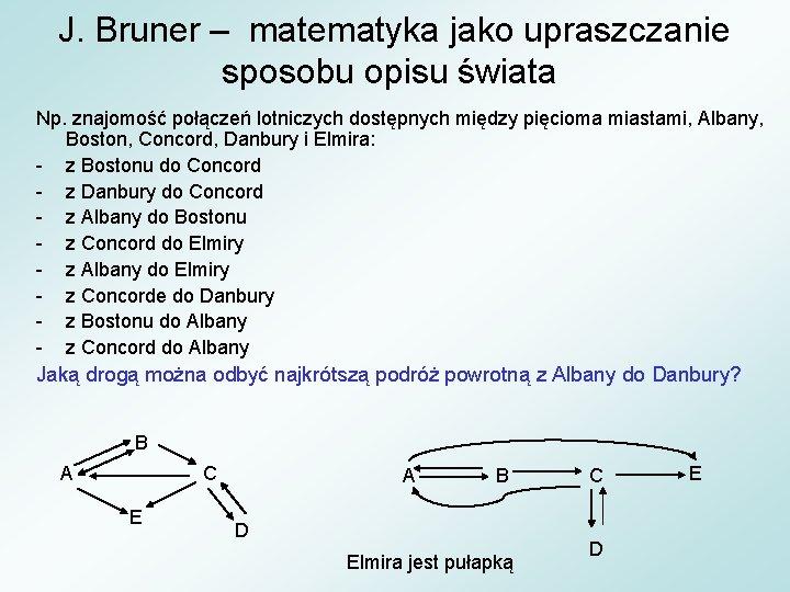 J. Bruner – matematyka jako upraszczanie sposobu opisu świata Np. znajomość połączeń lotniczych