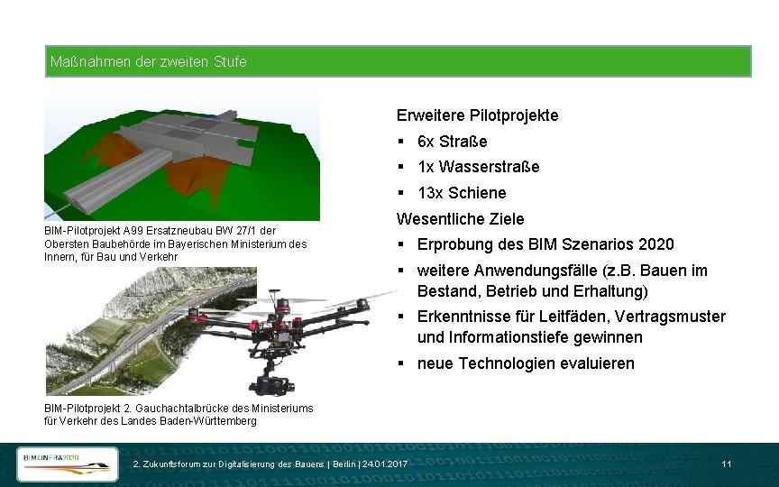 Maßnahmen der zweiten Stufe Erweitere Pilotprojekte § 6 x Straße § 1 x Wasserstraße