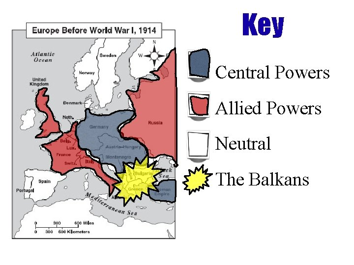 Key Central Powers Allied Powers Neutral The Balkans