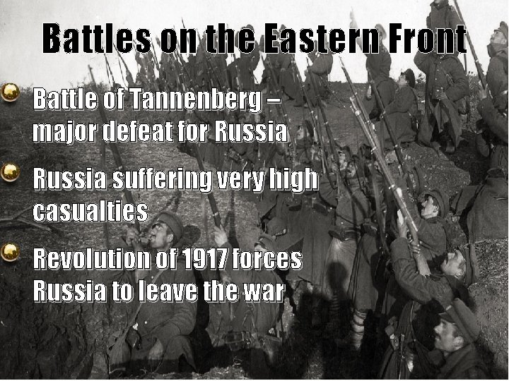 Battles on the Eastern Front Battle of Tannenberg – major defeat for Russia suffering