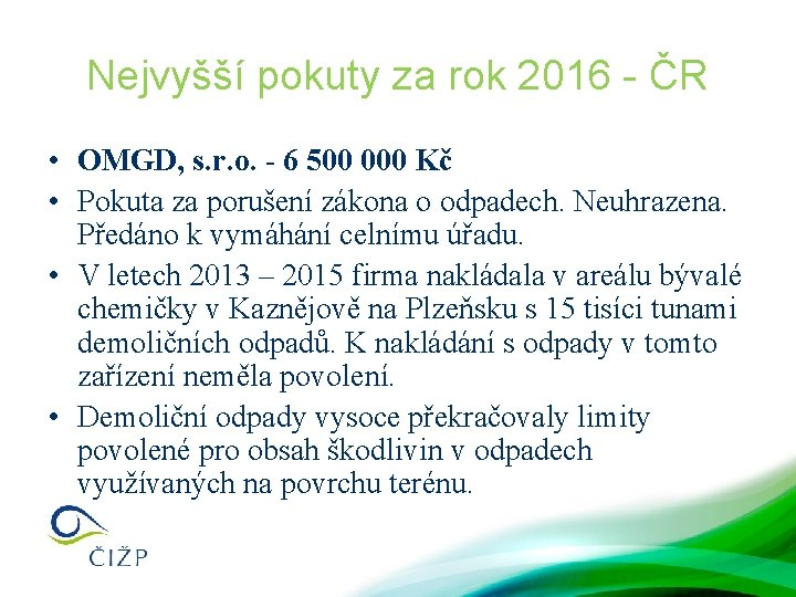 Nejvyšší pokuty za rok 2016 - ČR • OMGD, s. r. o. - 6