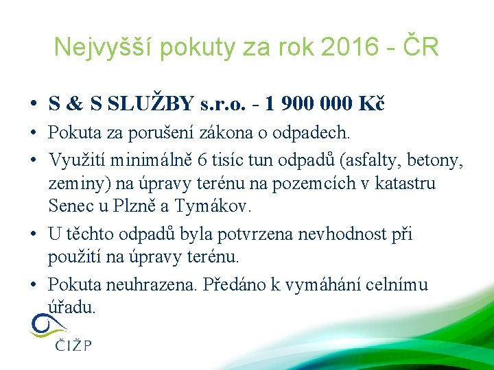 Nejvyšší pokuty za rok 2016 - ČR • S & S SLUŽBY s. r.