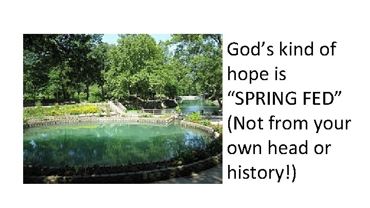 """God's kind of hope is """"SPRING FED"""" (Not from your own head or history!)"""