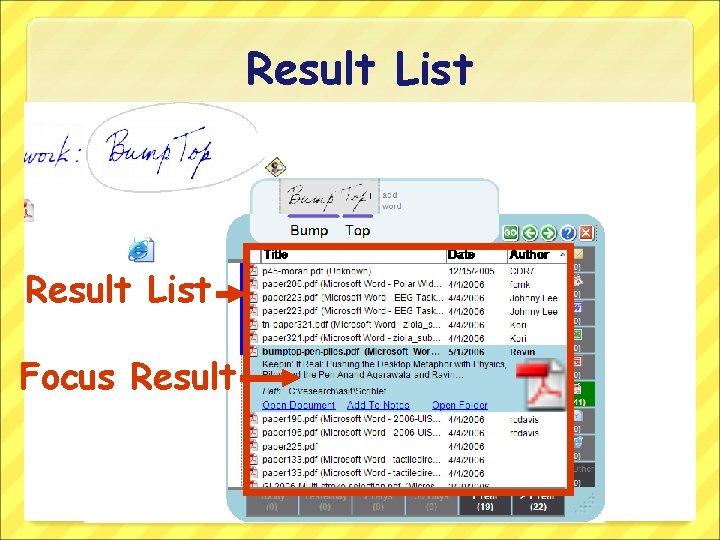 Result List Focus Result