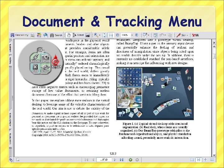 Document & Tracking Menu