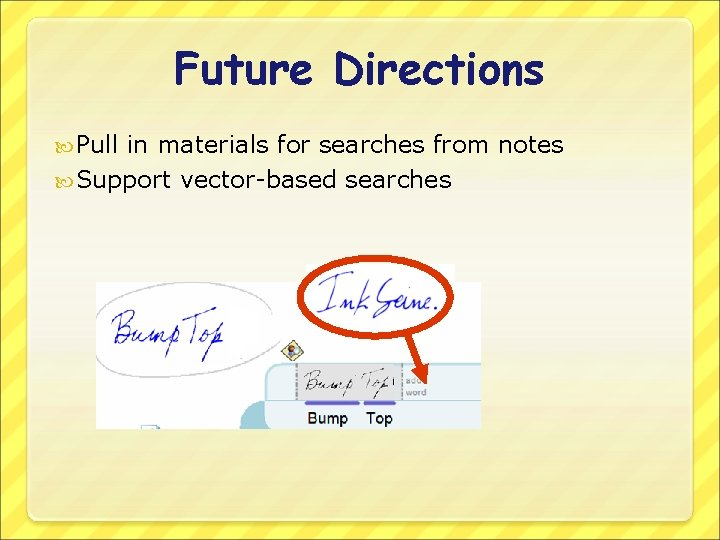 Future Directions Pull in materials for searches from notes Support vector-based searches