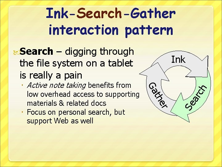 Ink-Search-Gather interaction pattern Search – digging through the file system on a tablet is