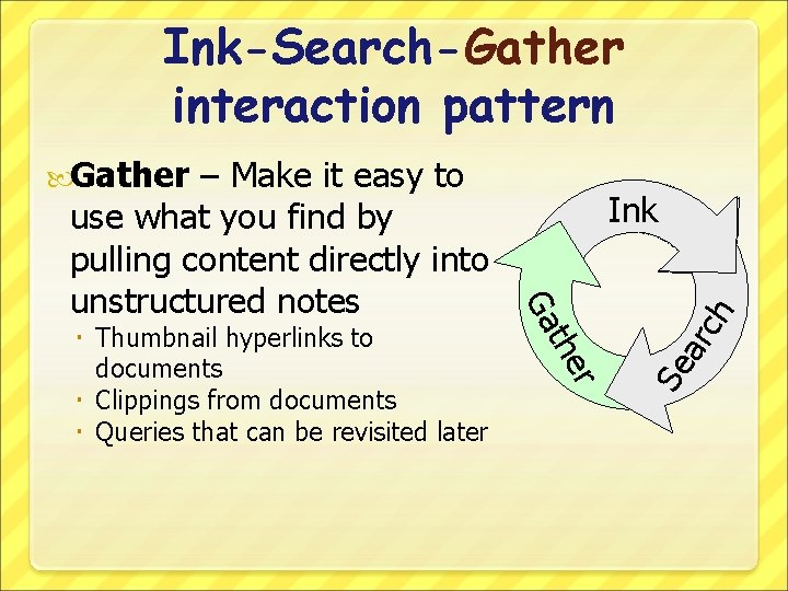 Ink-Search-Gather interaction pattern Gather ch ar Se r the Thumbnail hyperlinks to documents Clippings