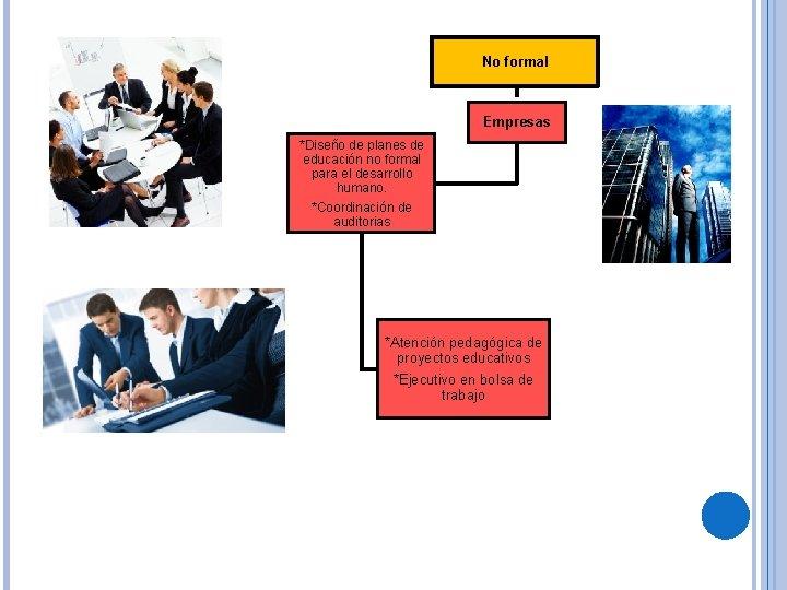 No formal Empresas *Diseño de planes de educación no formal para el desarrollo humano.