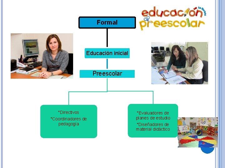 Formal Educación inicial Preescolar *Directivos *Coordinadores de pedagogía *Evaluadores de planes de estudio *Diseñadores