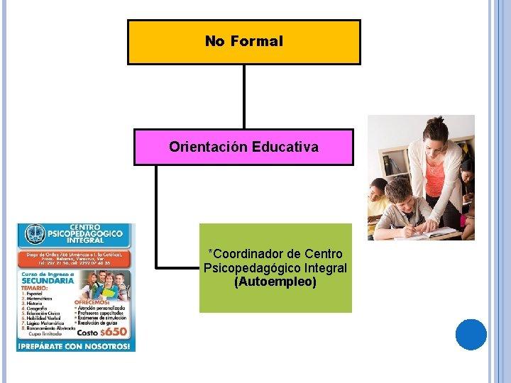 No Formal Orientación Educativa *Coordinador de Centro Psicopedagógico Integral (Autoempleo)