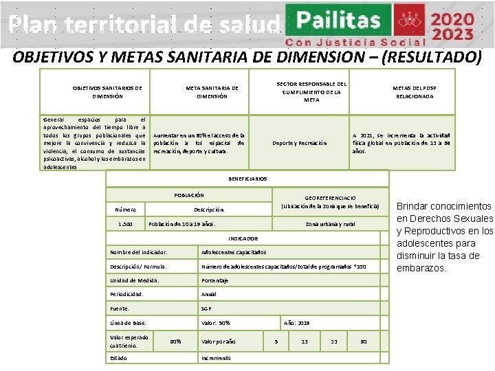OBJETIVOS Y METAS SANITARIA DE DIMENSION – (RESULTADO) OBJETIVOS SANITARIOS DE DIMENSIÓN META SANITARIA