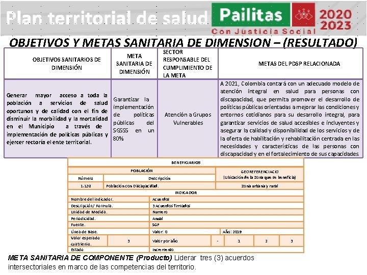 OBJETIVOS Y METAS SANITARIA DE DIMENSION – (RESULTADO) META SANITARIA DE DIMENSIÓN OBJETIVOS SANITARIOS