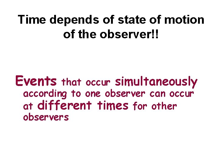 Time depends of state of motion of the observer!! Events that occur simultaneously according