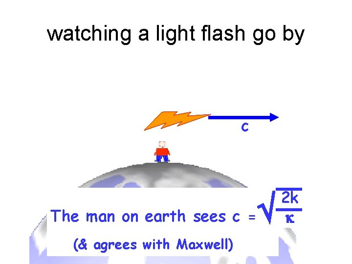 watching a light flash go by v c The man on earth sees c