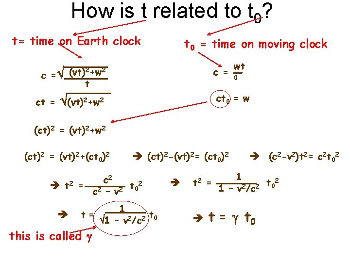 How is t related to t 0? t= time on Earth clock (vt)2+w 2
