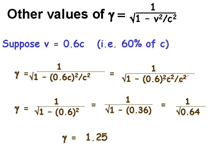 Other values of g = Suppose v = 0. 6 c (i. e. 60%
