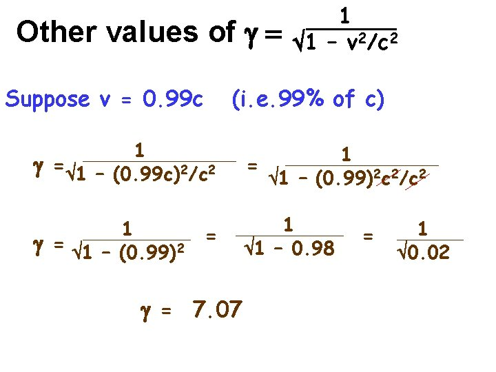 Other values of g = Suppose v = 0. 99 c 1 1 –