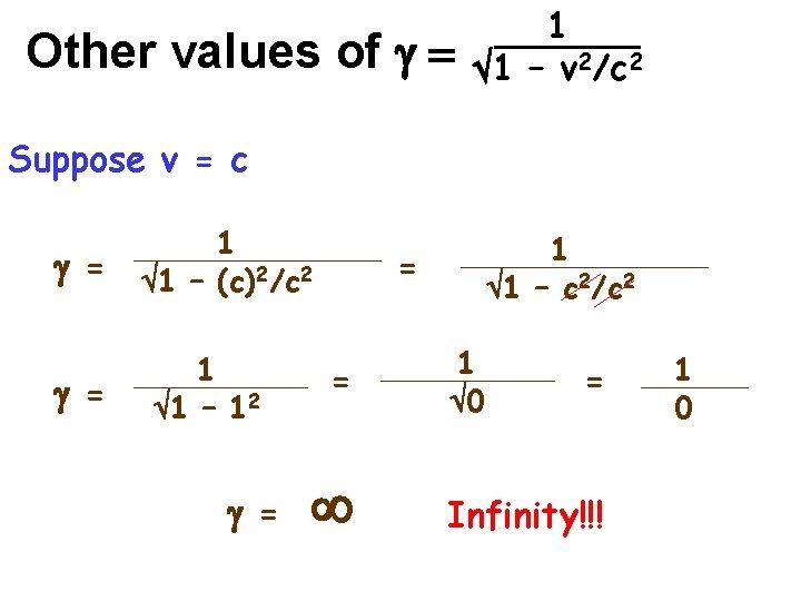 Other values of g = 1 1 – v 2/c 2 Suppose v =