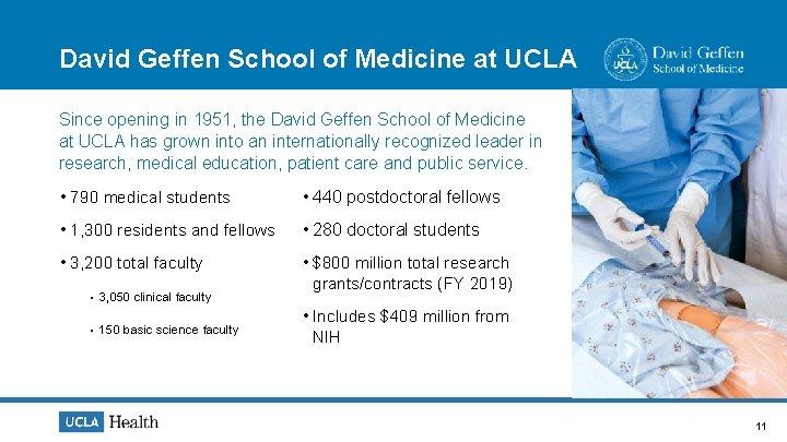 David Geffen School of Medicine at UCLA Since opening in 1951, the David Geffen