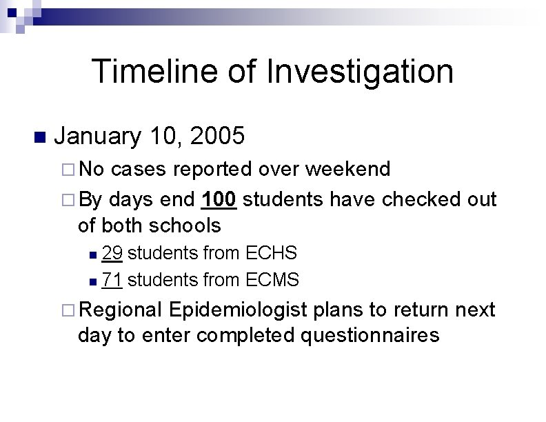 Timeline of Investigation n January 10, 2005 ¨ No cases reported over weekend ¨